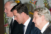 Nationale Herdenking voor de slachtoffers van vlucht MH17 in de RAI , Amsterdam.<br /> <br /> National Memorial for the victims of flight MH17 in the RAI , Amsterdam.<br /> <br /> Op de foto / On the photo: Commissaris van de koning van Noord-Holland Johan Remkes, premier Mark Rutte, burgemeester Ebenhard van der Laan / supervisory board to the king of North Holland Johan Remkes , Prime Minister Mark Rutte , Mayor Eberhard van der Laan