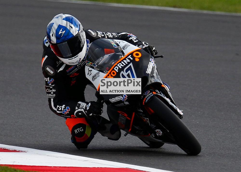 HERTZ BRITISH GRAND PRIX ..John Mcphee on his Saxoprint-RTG Honda riding in the Moto3 first free practice session..(c) STEPHEN LAWSON | SportPix.org.uk
