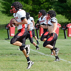 Staff photos by Tom Kelly IV<br /> QB Danny Fisher (left) during Penncrest football practice on Tuesday August 26, 2014.