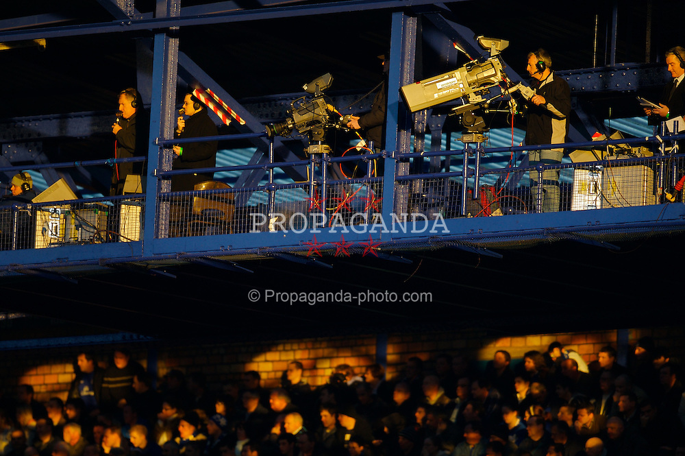 LIVERPOOL, ENGLAND - Saturday, February 9, 2008: Television cameramen work from a gantry high above Goodison Park. (Photo by David Rawcliffe/Propaganda)