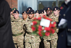 © London News Pictures. 11/11/12. Maidstone, Kent, Remembrance Day. Serving soldiers from the 36 Engineer Regiment based in Maidstone, Kent, watch as wreaths are laid during the service on Remembrance Day at the war memorial in Maidstone, Kent. Picture credit should read Manu Palomeque/LNP