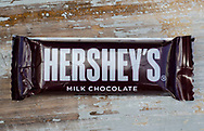 London, England - April 16, 2016: Hershey's Milk Chocolate Bar, Hershey's was founded in 1894 and is one of the largest chocolate manufacturers in North America.