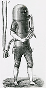 'Diving suit by C.H. Klingert of Breslau, 1797.  Domed cylinder of tinplate put over diver's head and suit of waterproof leather. Air supplied through tube from mother ship above. Engraving c1870.'