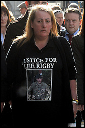The mother  of the murdered soldier Lee Rigby, Lyn Rigby arrives at the  The Old Bailey, London, United Kingdom. Wednesday, 26th February 2014. for the Sentencing of his killers Picture by Andrew Parsons / i-Images