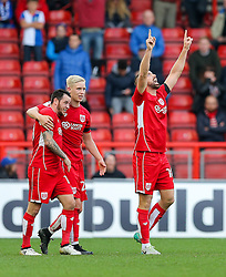 Aaron Wilbraham of Bristol City celebrates scoring a goal to make it 1-0 - Rogan Thomson/JMP - 22/10/2016 - FOOTBALL - Ashton Gate Stadium - Bristol, England - Bristol City v Blackburn Rovers - Sky Bet EFL Championship.