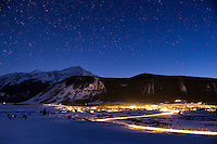 Crested Butte, Colorado is a small ski town nestled below Whetstone Mountain. This shot was taken during the twilight hours after sunset in late winter.