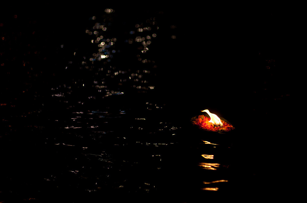 A candle on the Ganges, launched during the ganga aarti ceremony in Haridwar