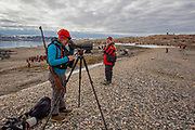 Nature researcher studies the wildlife on Spitsbergen, Svalbard, Norway