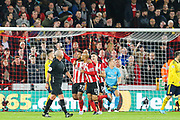Sheffield United forward Lys Mousset (22) celebrates after scoring his team's first goal during the Premier League match between Sheffield United and Arsenal at Bramall Lane, Sheffield, England on 21 October 2019.