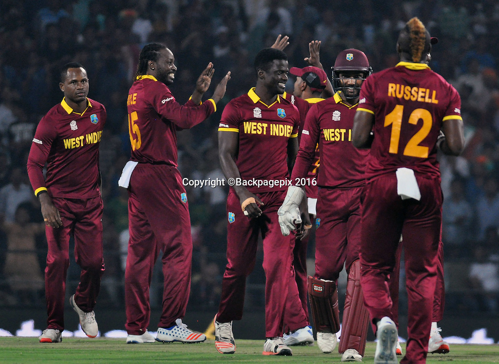 West Indies players celebrating during the 2016 ICC World T20 cricket match between South Africa and West Indies at Vidharbha Cricket Association, Jamtha, India on 25 March 2016 ©BackpagePix