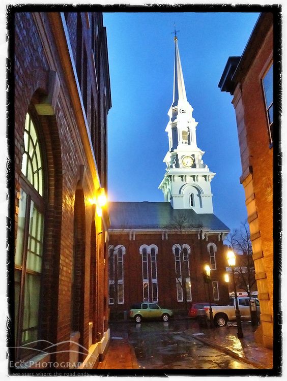 "The North Church in Market Square, Portsmouth, New Hampshire. iPhone photo - file is appropriate for print reproduction up to 8"" x 12""."