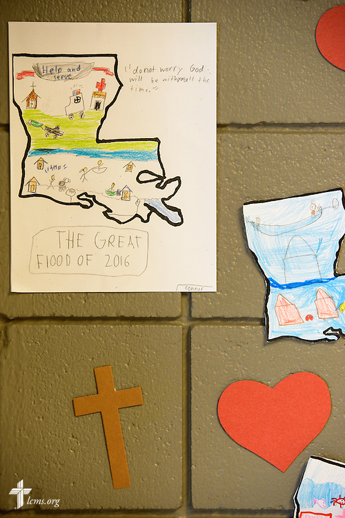 Student artwork depicting the recent flooding is displayed at Baton Rouge Lutheran School, a part of Trinity Lutheran Church, Baton Rouge, La., on Wednesday, Sept. 14, 2016, in Baton Rouge. A significant number of families with children at the school were affected by the August flooding. Grant money from LCMS Disaster Response is helping keep the children in the school while families face economic hardships. LCMS Communications/Erik M. Lunsford