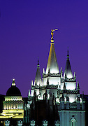 Image of the Salt Lake Temple and Utah State Capitol in Salt Lake City, Utah, American Southwest