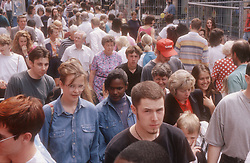 Crowded street scene in Nottingham,