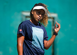 February 18, 2019 - Dubai, ARAB EMIRATES - Naomi Osaka of Japan practices ahead of the 2019 Dubai Duty Free Tennis Championships WTA Premier 5 tennis tournament (Credit Image: © AFP7 via ZUMA Wire)