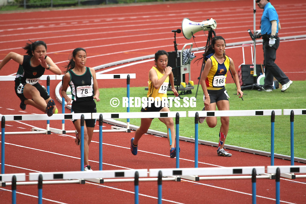 Choa Chu Kang Sports Complex, Thursday, April 11, 2013 &mdash; Jannah Wong led a podium sweep for Raffles Institution (RI) when she won the A Division 100m hurdles final at the 54th National Schools Track and Field Championships. Jannah was first in 15.10 seconds while Jermaine Liang was second in 17.50s. Meaghan Chan was third in 17.53s.<br /> <br /> Story: http://www.redsports.sg/2013/04/14/a-div-girls-100m-hurdles-jannah-wong-ri/