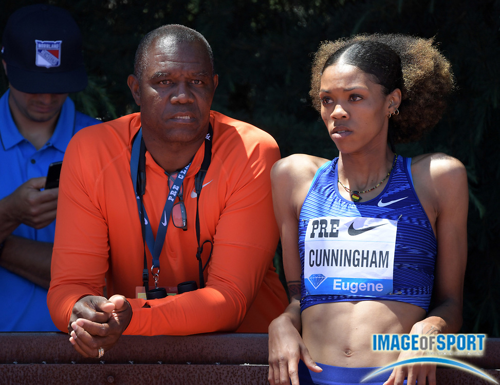 Jun 30, 2019; Stanford, CA, USA; Vashti Cunningham (USA), right, talks with father and coach Randall Cunningham  during the women's high jump at the 45th Prefontaine Classic at Cobb Track & Angell Field. Cunningham placed second in a personal best 6-6 3/4 (2.00m).