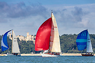 The sun catches David Murrin's Cetewayo in Osborne Bay while competing in Cowes during the Panerai British Classic Sailing Week regatta.<br /> Picture date: Monday July 10, 2017.<br /> Photograph by Christopher Ison &copy;<br /> 07544044177<br /> chris@christopherison.com<br /> www.christopherison.com