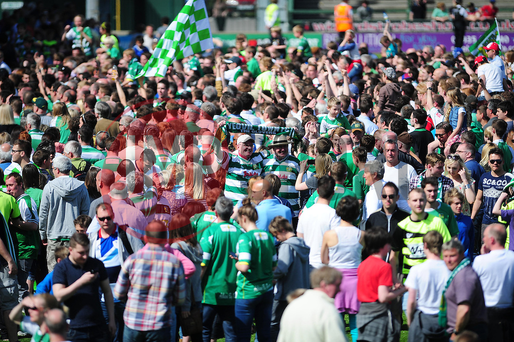 Yeovil Town fans celebrate as Yeovil Town reach the play off final - Photo mandatory by-line: Dougie Allward/JMP - Tel: Mobile: 07966 386802 06/05/2013 - SPORT - FOOTBALL - Huish Park - Yeovil - Yeovil Town V Sheffield United - NPOWER LEAGUE ONE PLAY-OFF SEMI-FINAL SECOND LEG