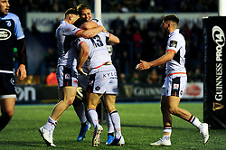 Mark Bennett of Edinburgh Rugby celebrates scoring his sides first try of the game - Mandatory by-line: Ryan Hiscott/JMP - 05/10/2019 - RUGBY - Cardiff Arms Park - Cardiff, Wales - Cardiff Blues v Edinburgh Rugby - Guinness Pro 14