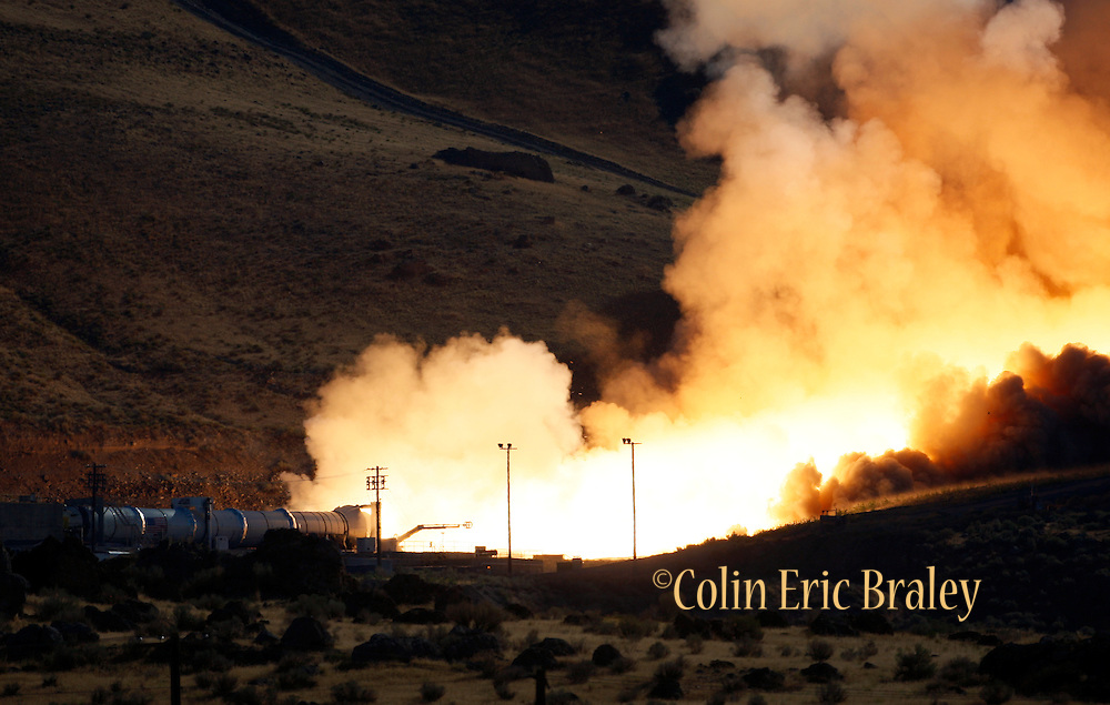 test firing of NASA's Ares five-segment solid rocket motor at the company's test facility in Promontory, Utah, Tuesday August 27, 2010. Photo by Colin E Braley