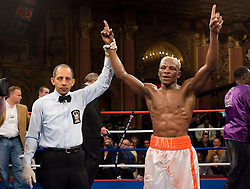 April 11, 2007; Bronx, NY, USA;   Raymond Joval (white trunks) has his hand raised by referee Pete Santiago after his 10 round unanimous decision win over Willie Gibbs at the Paradise Theater.