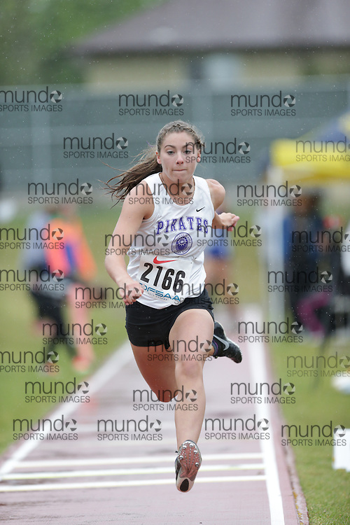 Kasey Andrews of Thousand Islands SS - Brockvil competes in the junior girls triple jump at the 2013 OFSAA Track and Field Championship in Oshawa Ontario, Thursday,  June 6, 2013.<br /> Mundo Sport Images / Sean Burges