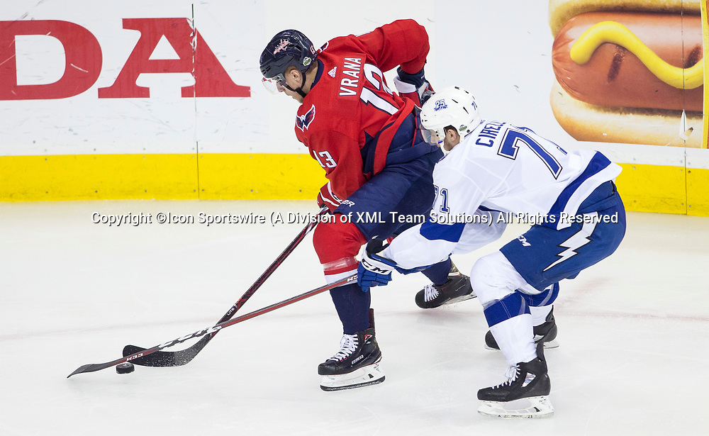WASHINGTON, DC - MAY 21:Tampa Bay Lightning center Anthony Cirelli (71) pursues Washington Capitals left wing Jakub Vrana (13) in the first period during game 6 of the NHL Eastern Conference  Finals between the Washington Capitals and the Tampa Bay Lightning, on May 21, 2018, at Capital One Arena, in Washington D.C.<br /> (Photo by Tony Quinn/Icon Sportswire)