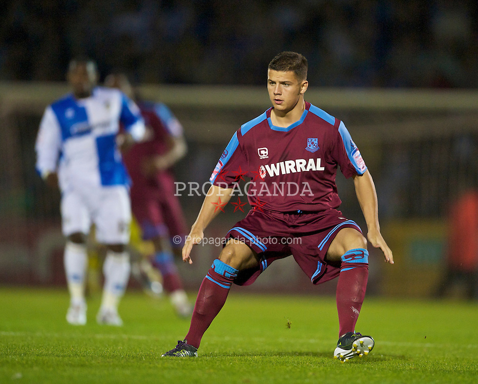 BRISTOL, ENGLAND - Tuesday, September 28, 2010: Tranmere Rovers' Tim Cathalia in action against Bristol Rovers during the Football League One match at the Memorial Ground. (Photo by David Rawcliffe/Propaganda)