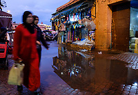 MARRAKESH, MOROCCO - CIRCA APRIL 2017: Women walking close to the Jemaa el-Fnaa square in Marrakesh