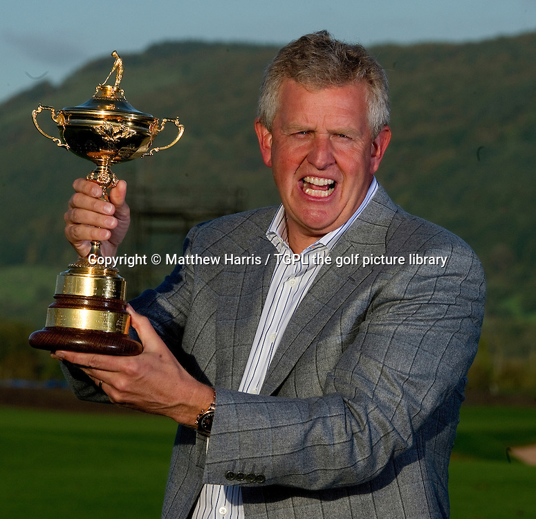 Proud Europe captain Colin MONTGOMERIE (EUR) holds the Ryder Cup trophy after his team beat the USA Session Four_Singles during Ryder Cup 2010,Celtic Manor,Newport,Wales.