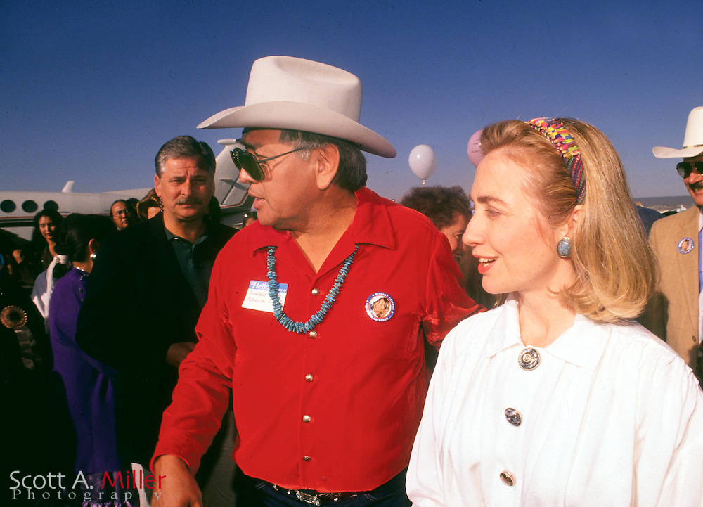 Hillary Clinton with Navajo Nation President Peterson Zah while she was campaignin for her husband, Bill, during the 1992 presidential campaign in Gallup, N.M., on Sept. 16, 1992...©1992 Scott A. Miller