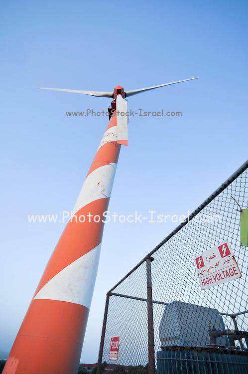 Israel, Golan Heights, View of Wind turbines near kibbutz Ein Zivan, October 05, 2009,