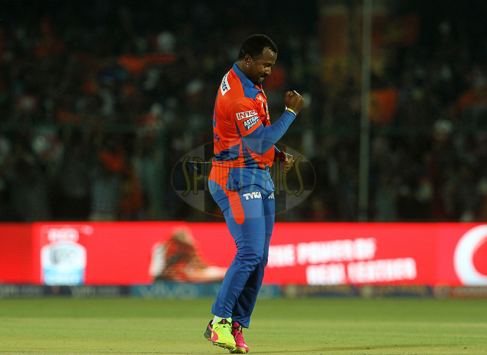 Gujarat Lions player Dwayne Smith celebrates the wicket of Mumbai Indians player Krunal Pandya during match 54 of the Vivo Indian Premier League 2016 ( IPL ) between the Gujarat Lions and the Mumbai Indians held at The Green Park, Stadium in Kanpur, India on the 21st  May 2016<br /> <br /> Photo by Vipin Pawar / IPL/ SPORTZPICS