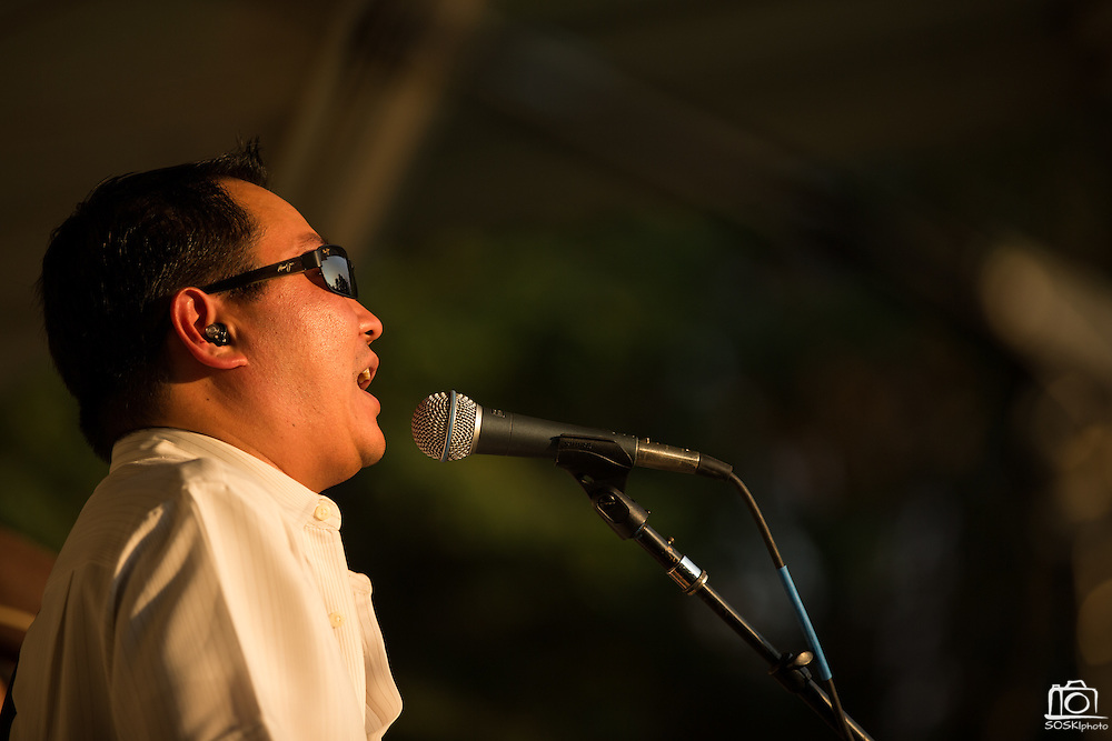 Big Blu Soul Revue vocalist Jason Movrich performs as guests enjoy heat and music during the City of Milpitas Summer Concert Series at Murphy Park in Milpitas, California, on July 26, 2016. (Stan Olszewski/SOSKIphoto)