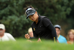 July 14, 2018 - Sylvania, Ohio, United States - Thidapa Suwannapura of Thailand reacts after her birdie on the second green during the third round of the Marathon LPGA Classic golf tournament at Highland Meadows Golf Club in Sylvania, Ohio USA, on Saturday, July 14, 2018. (Credit Image: © Jorge Lemus/NurPhoto via ZUMA Press)