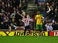 Photo: Andrew Unwin.<br />Sunderland v Norwich City. Coca Cola Championship. 02/12/2006.<br />Norwich's Jurgen Colin (R) trudges back upfield as Sunderland celebrate their goal.