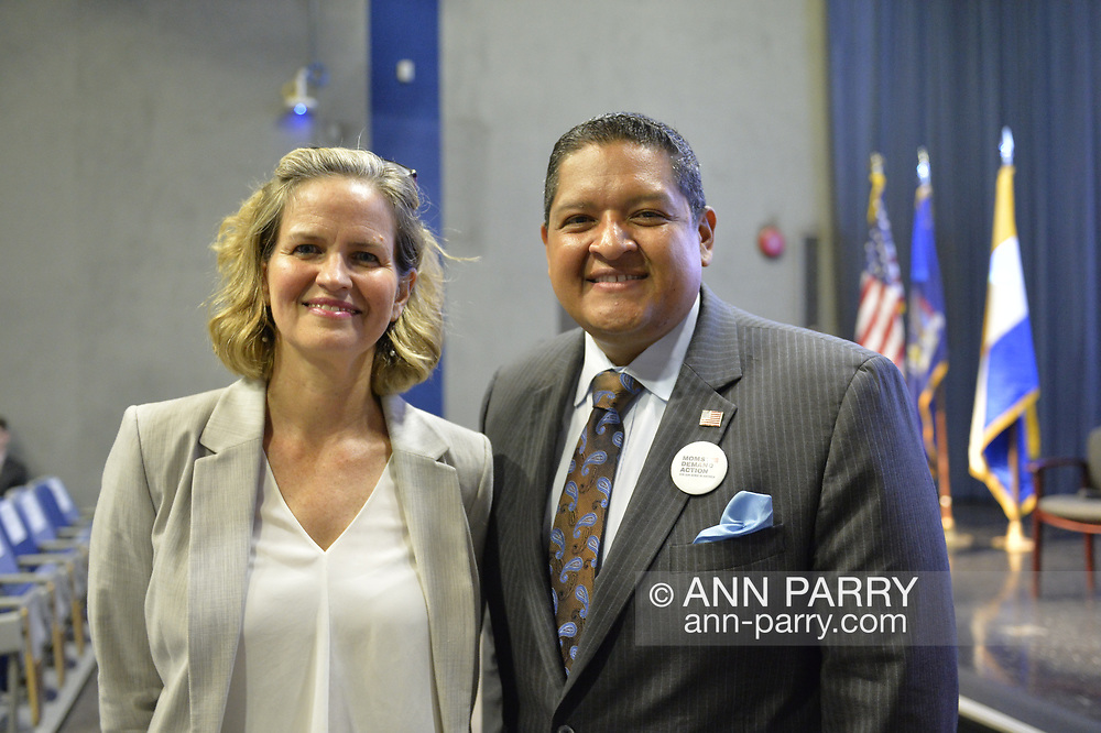 Hempstead New York, October 5, 2018. L-R, Democrats Nassau County Executive LAURA CURRAN and JUAN VIDES, candidate for NYS 20th Assembly District, pose before start of U.S. Sen. Gillibrand's Town Hall Meeting at Hofstra University on Long Island.