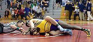Council Rock South's Joe Doyle, top, has the upper hand just before pinning Upper Darby's Brian Kennerly in the 195 pound match during the Southeast Regional Class AAA wrestling championships at Souderton High School Saturday March 5, 2016 in Franconia, Pennsylvania.  (Photo by William Thomas Cain)