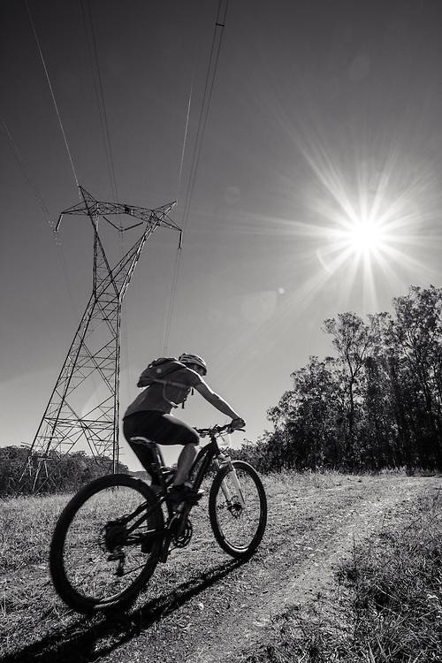 Female mountain biker during a 4 hour enduro event.