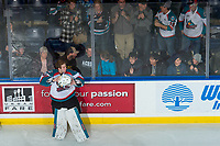 KELOWNA, CANADA - FEBRUARY 24: The Kelowna Rockets pick up equipment off the ice at the end of the game against the Kamloops Blazers on February 24, 2018 at Prospera Place in Kelowna, British Columbia, Canada.  (Photo by Marissa Baecker/Shoot the Breeze)  *** Local Caption ***