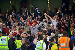 LONDON, ENGLAND - Saturday, September 29, 2018: Liverpool supporters celebrate a late equalising goal to seal a 1-1 draw during the FA Premier League match between Chelsea FC and Liverpool FC at Stamford Bridge. (Pic by David Rawcliffe/Propaganda)