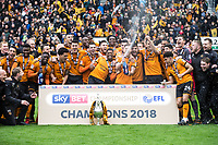 Football - 2017 / 2018 Sky Bet Championship - Wolverhampton Wanderers vs. Sheffield Wednesday<br /> <br /> Wolverhampton Wanderer's celebrate at Molineux.<br /> <br /> COLORSPORT