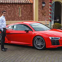 The all-new Audi R8 V10 plus Coupé (2015 model) with Oliver Jarvis at the Launch at Le Castellet, France, on 4 November 2015