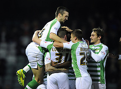 Yeovil Town's John Lundstram is mobbed by team mates after scoring - Photo mandatory by-line: Joe Meredith/JMP - Tel: Mobile: 07966 386802 03/12/2013 - SPORT - Football - Yeovil - Huish Park - Yeovil Town v Blackpool - Sky Bet Championship