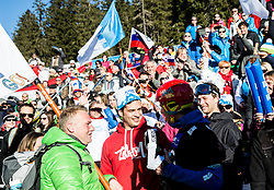 Zan Kosir (SLO) celebrates with his brother and other fans after he placed Third during Men's Parallel Giant Slalom at FIS Snowboard World Cup Rogla 2017, on January 28, 2017 at Course Jasa, Rogla, Slovenia. Photo by Vid Ponikvar / Sportida