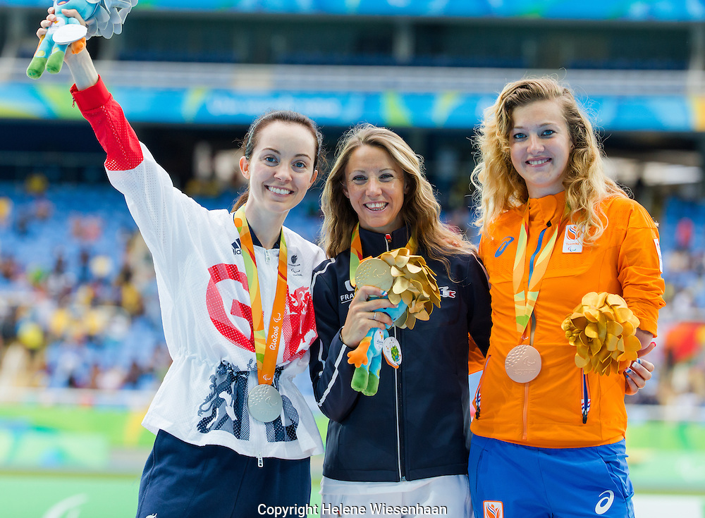 Marlene Van Gansewinkel, Marie amelie le Fur, Stefanie Reid attend teh Medal Ceremony of the Womens Longjump Final T44 during day 2 of the Paralympic Games in Rio de Janeiro, Brasil, September 9, 2016 of the Paralympic Games in Rio de Janeiro, Brasil, September 9, 2016