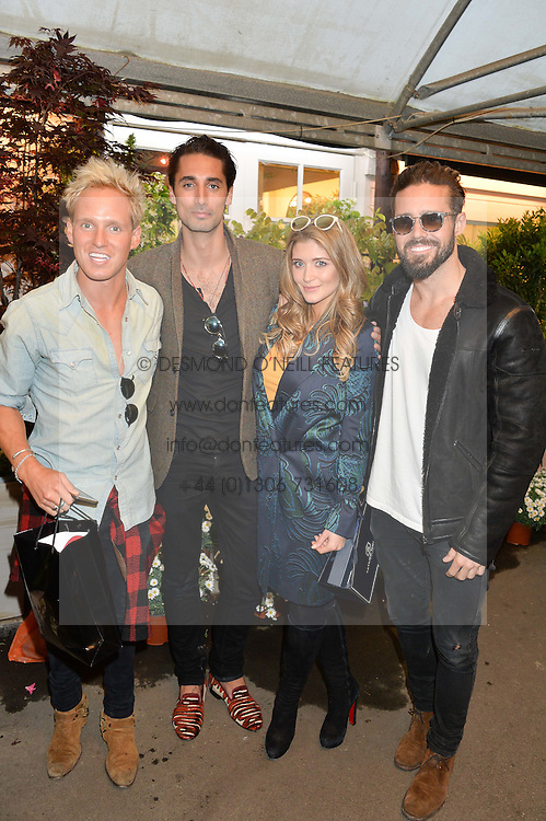 Left to right, JAMIE LAING, HUGO TAYLOR, LAUREN HUTTON and SPENCER MATTHEWS at a party to celebrate the launch of the Taylor Morris Eyewear's Summer Collection held at The Chelsea Gardner, 125 Sydney Street, London on 20th May 2015.