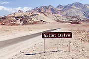 A sign along the road for Artist Drive in Death Valley National Park in California.