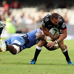 Isi Naisarani of Western Force tackling Curwin Bosch of the Cell C Sharks during the Super Rugby match between the Cell C Sharks and the Western Force at Growthpoint Kings Park on May 06, 2017 in Durban, South Africa. (Photo by Steve Haag)